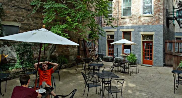 Outdoor seating area at Cincinnati bookstore with coffee